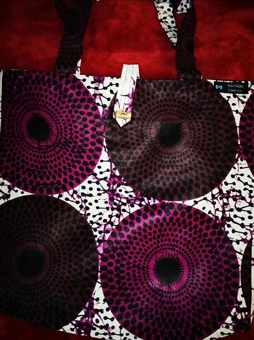 Maxi Tote bag en wax « PURPLE DISK »