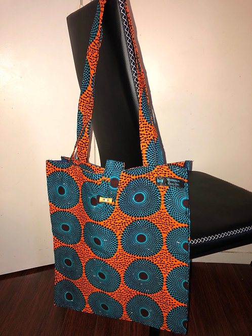 "Tote bag en wax ""DISQUE"""