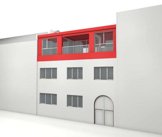 Extension à Jette: Réhausse en toiture