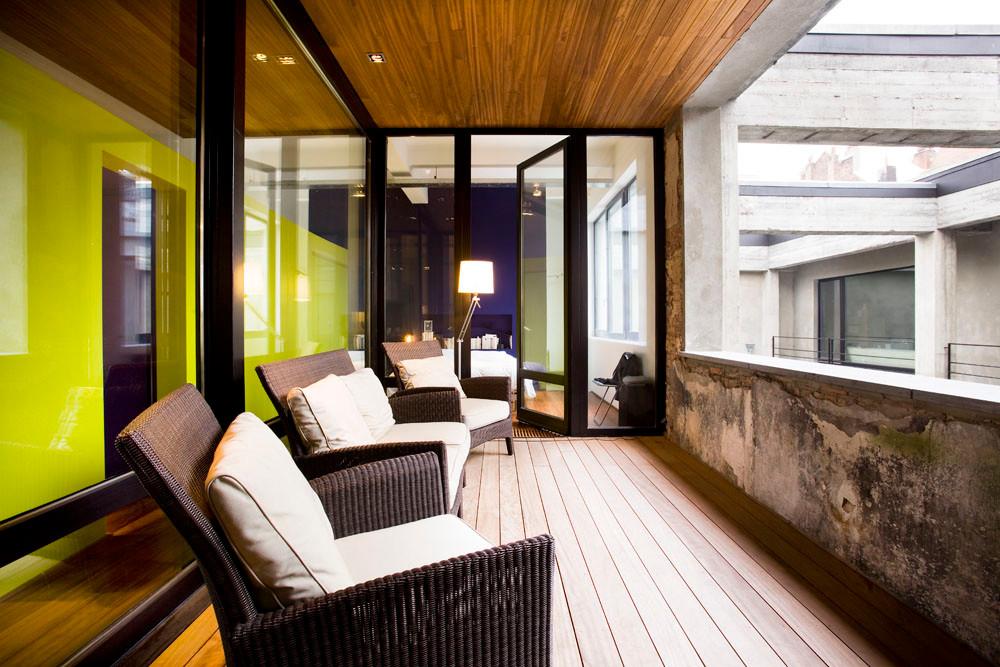 Loft à Laeken: rénovation contemporaine terrasse