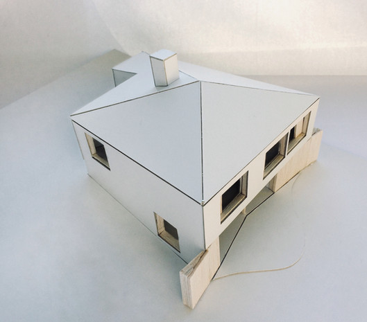 Maison contemporaine Rixensart: quatres façades et toit en pente