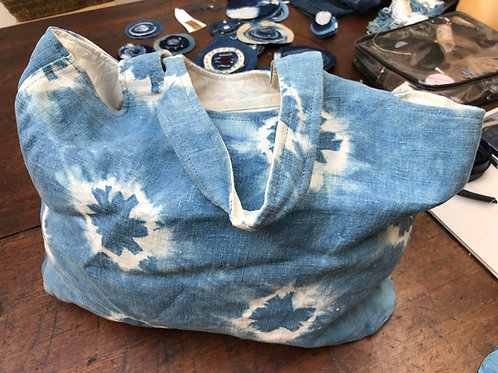Shibori dyed linen bag.