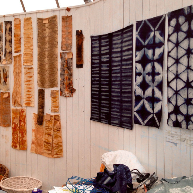 Display of textile pieces created whilst working as artist in Residence at the Botanic Gardens in Ventnor