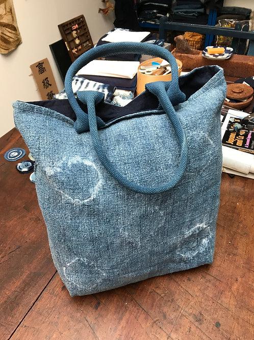 Boro Inspired Heavy  Vintage Linen Bag