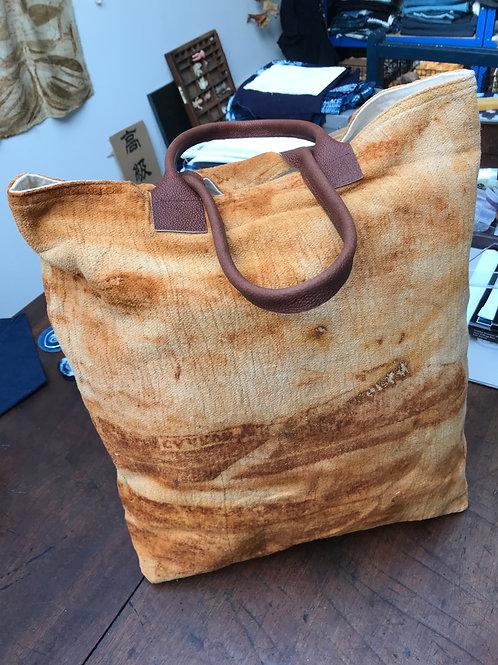 Rust Dyed Natural Fabric  Bag
