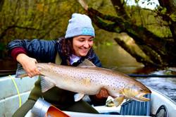 Kim & an 83cm sea trout, River Villestru