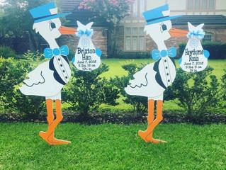 The Stork Stop of Northern Virginia ~ Arlington, VA~ Twin Stork Lawn Sign Rentals