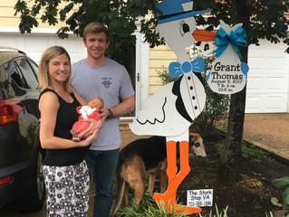 The Stork Stop of Northern Virginia ~ Alexandria, VA ~ Stork Baby Sign  ~ Welcome Home baby Grant!
