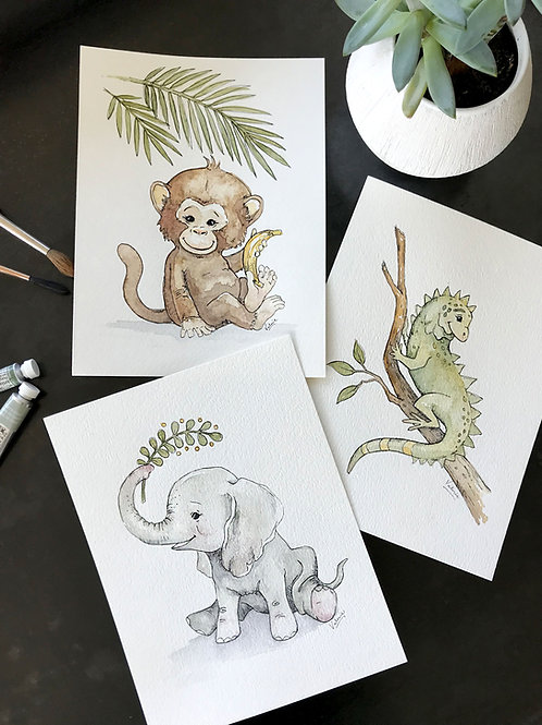 "BABY SAFARI ANIMALS- SET OF THREE 4""x6"" WATERCOLORS"