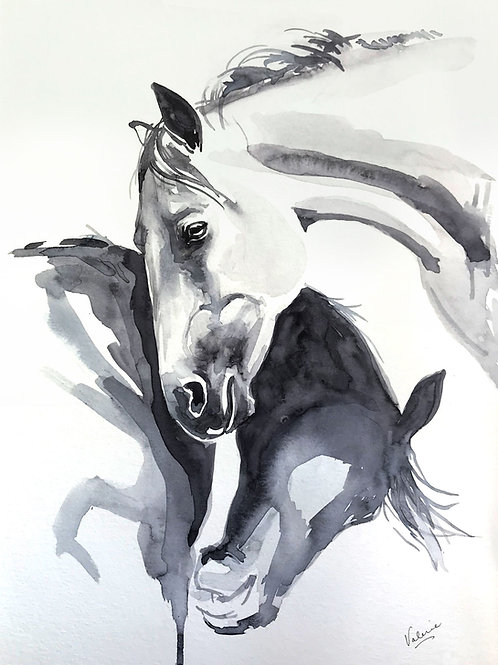 HORSE HUGS- WATERCOLOR PAINTING