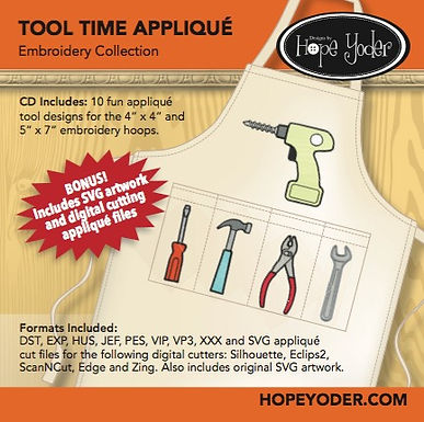 Tool Time Applique Embroidery CD with SVG Files