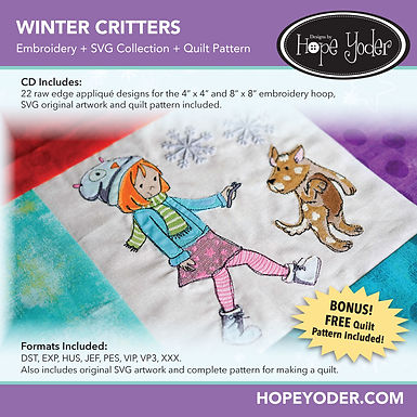 Winter Critters Embroidery +SVG Collection+Quilt Pattern