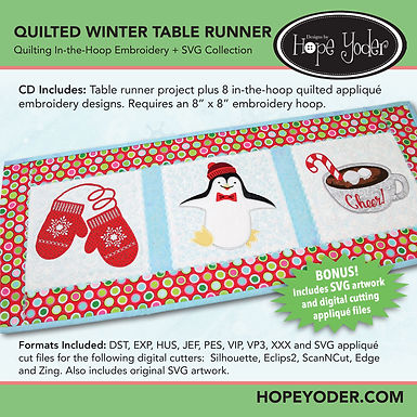 Quilted Winter Table Runner Embroidery CD with SVG Files