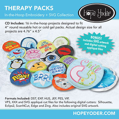 Therapy Packs Embroidery CD with SVG Files