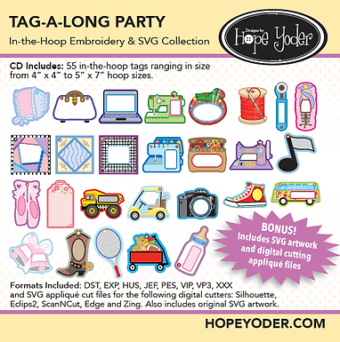 Tag Along Party Embroidery CD with SVG Files