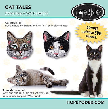 Cat Tales Embroidery CD with SVG Files