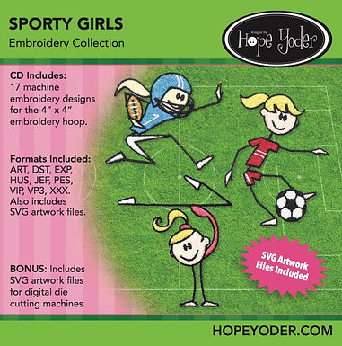 Sporty Girls Embroidery CD with SVG Files