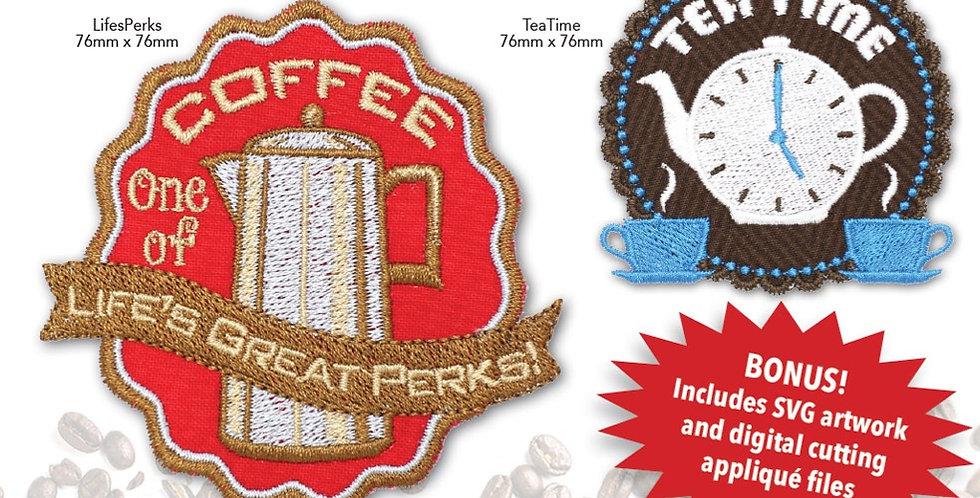 Morning Perks Applique Embroidery CD with SVG Files
