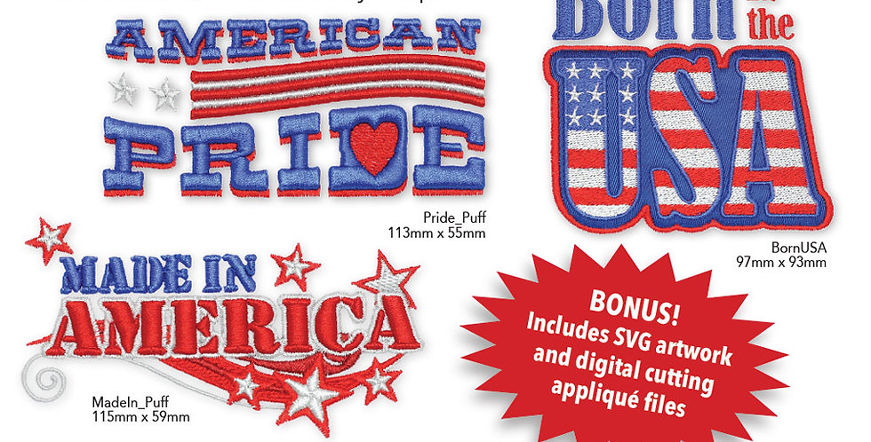 Patriotic Puff Foam Embroidery CD with SVG Files