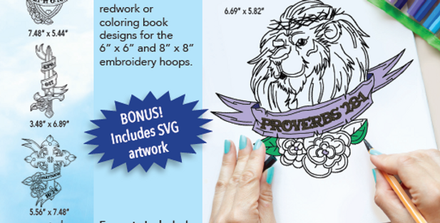 Thread Sketch Coloring Pages Embroidery CD with SVG Files