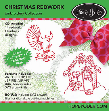 Christmas Redwork Embroidery CD with SVG Files