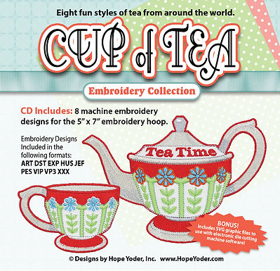 Cup of Tea Embroidery CD with SVG Files
