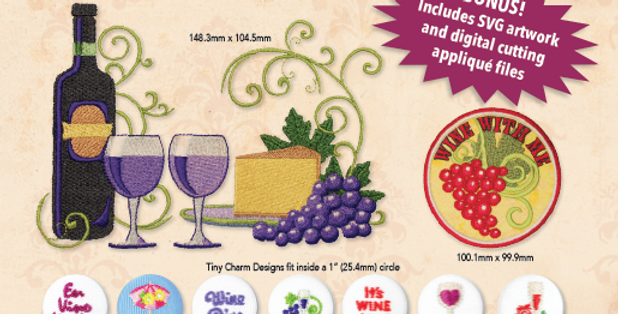Wine with Me Embroidery CD with SVG Files
