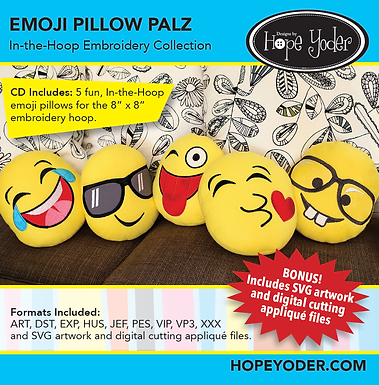 Emoji's Pillow Palz In The Hoop CD with SVG Files