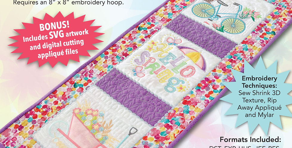 Spring Table Runner Embroidery CD