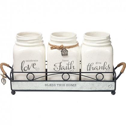 Bless This Home Mason Jars Set Of 3