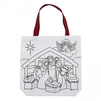 God's Greatest Gift Color Your Own Tote Bag Christmas