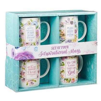 Inspirational Floral Mug Set - 4 pack