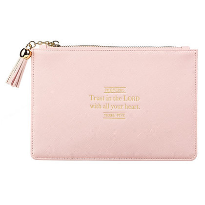 Trust in the Lord LuxLeather Pouch in Blush - Proverbs 3:5