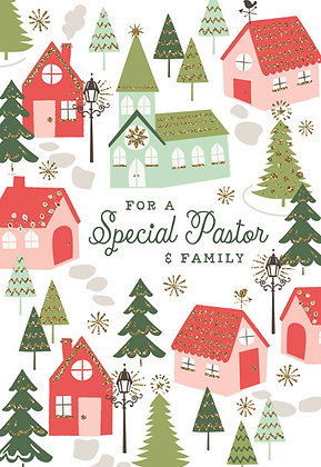 For A Special Pastor & Family Glitter Christmas Cards