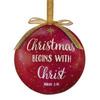 Christmas Begins With Christ Tree Baubles Pack Of 6