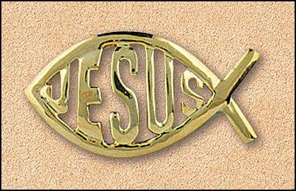 GOLD PLATED JESUS FISH LAPEL PIN