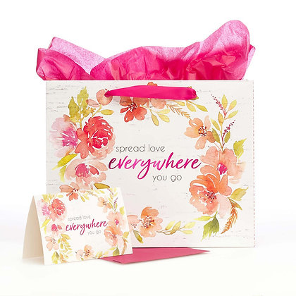 Spread Love Everywhere You Go Large Gift Bag Set in White with Card and Tissue P