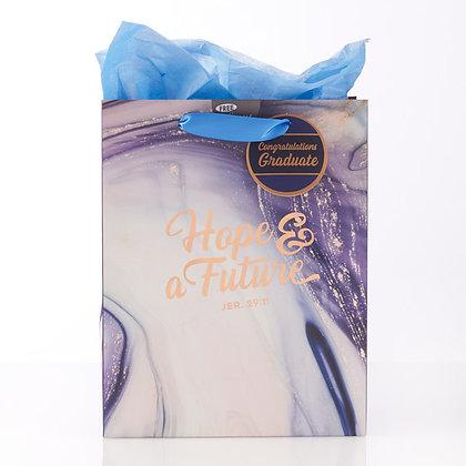Gift Bag Medium; Hope & a Future in Blue Marble, Graduation: Jeremiah 29:11