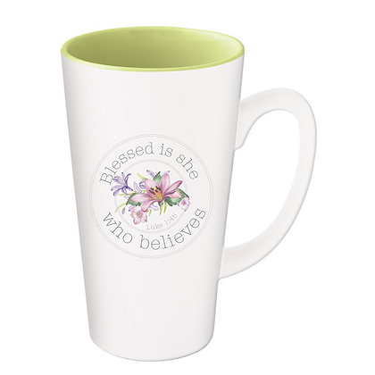 Coffee Mug; Blessed Is She Who Believes; Luke 1:45