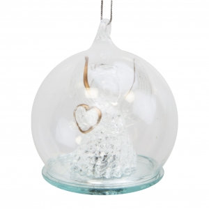 Angle Holding Heart Christmas Light Up Baubles Tree Ornament