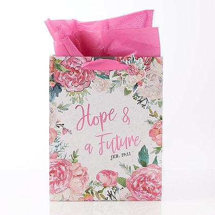Gift Bag Medium, Hope & a Future Floral  Graduation; Jeremiah 29:11