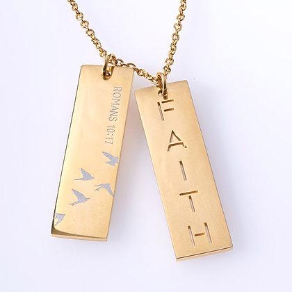 Faith Double Bar NecklaceHardback