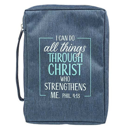 Poly-Canvas Bible Cover;  I Can Do All Things Blue - Philippians 4:13