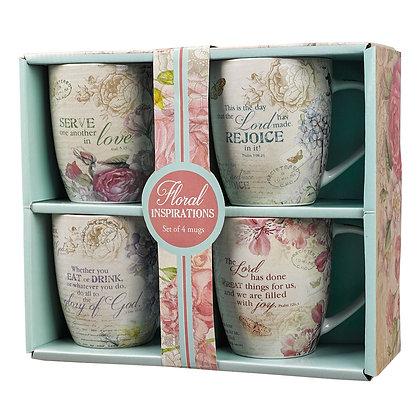 Floral Inspirations Four Piece Coffee Mug Set