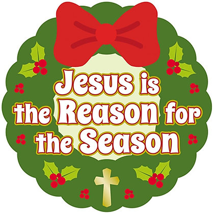 Jesus Is The Reason For The Season Christmas Wreath Auto Magnet Bumper Sticker