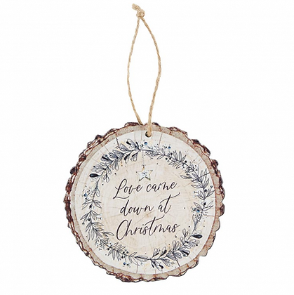 Love Came Down At Christmas Slice Wood Tree Ornament