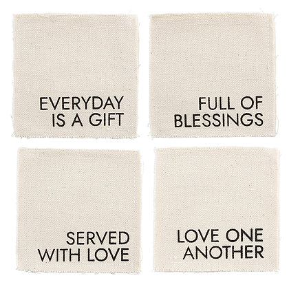 Canvas Coaster Everyday, Love, Served, Blessing Pack Of 4