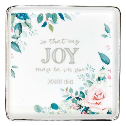That My Joy May Be In You Floral Ceramic Trinket Tray - John 15:11