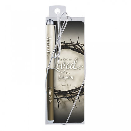 For God So Loved Gift Pen With Bookmark