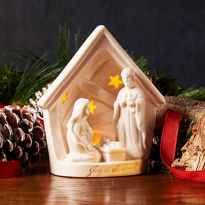 Christ Our Savior Is Born Light Up Porcelain Christmas Nativity: